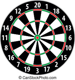 dart board - illustration of a dart board isolated on white...