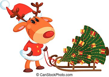 deer and sled with Christmas tree