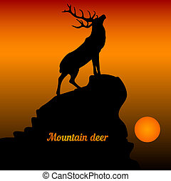 Illustration of a deer at the top of a mountain with his head raised, at sunset