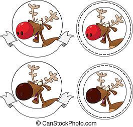 deer head banner - illustration of a deer head banner