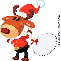 deer Santa with banner