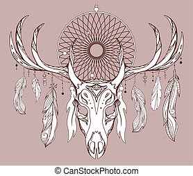 Illustration of a deer skull with antlers, dreamcatcher and feathers with boho pattern. Vector doodle element for printing on T-shirts, tattoo sketch, postcards and your creativity