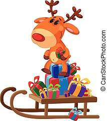 deer sledge with gifts