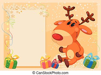 deer with banner card