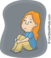Depressed Girl - Illustration of a Depressed Girl Shedding a...