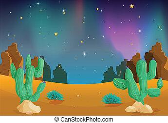 desert - illustration of a desert in the dark night