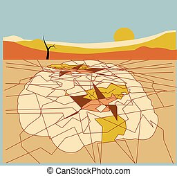 illustration of a desert land made of a brain with its neurons as the cracked desert