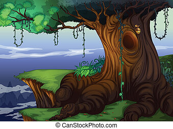 tree hollow - Illustration of a detailed tree hollow