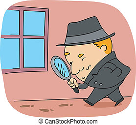 Detective - Illustration of a Detective at Work
