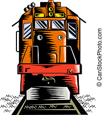 Diesel train - illustration of a Diesel train coming towards...