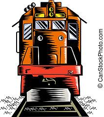 Diesel train - illustration of a Diesel train coming towards...