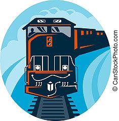 Diesel Train traveling on tracks straight up