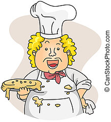 Dirty Chef - Illustration of a Dirty Chef Carrying a Sloppy...