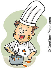 Dirty Chef - Illustration of a Dirty Chef Preparing Food
