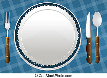 a dish - illustration of a dish on a blue background