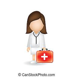 illustration of a doctor isolated on blue background, vector...