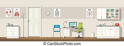 Illustration of a doctor office, panorama