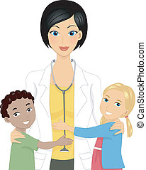 Doctor with Kids - Illustration of a Doctor with Kids