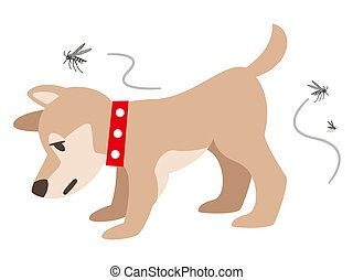 Illustration of a dog with a mosquito bite