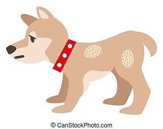 Illustration of a dog with eczema on the skin