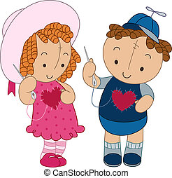 Illustration of a Doll Couple Sewing Heart Patches on Their Clothes