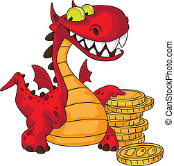 dragon and money - illustration of a dragon and money