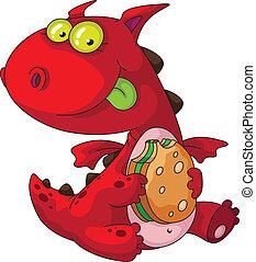 dragon eating - illustration of a dragon eating