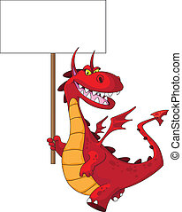 dragon holding a blank sign