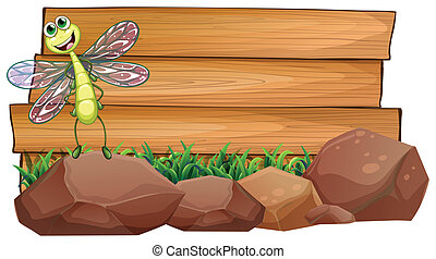 Illustration of a dragonfly above the rock with an empty wooden signboard at the back on a white background