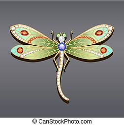 Illustration of a dragonfly brooch made of gold with precious stones