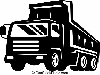 dump truck viewed from front at low angle - illustration of...
