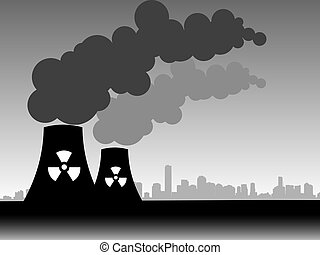 factory  - illustration of a factory belching out pollution