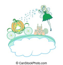 Illustration of a fairy and a pumpkin carriage