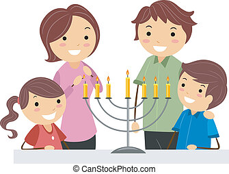 Hanukkah - Illustration of a Family Celebrating Hanukkah