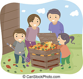 Compost Bin - Illustration of a Family Filling a Compost Bin...