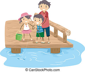 Family Fishing - Illustration of a Family Fishing Together