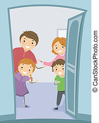 Illustration of a Family Giving Their Visitors a Warm Welcome
