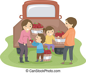 Family Harvesting Apples - Illustration of a Family...