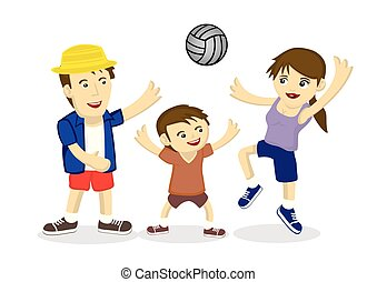 Illustration of a family of three playing volleyball
