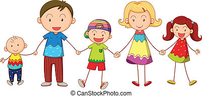family - illustration of a family on a white background