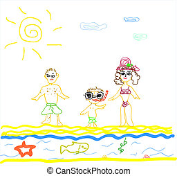 Illustration of A Family on Beach o