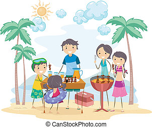 Family Outing - Illustration of a Family Outing
