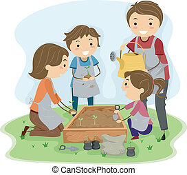 Illustration of a Family Planting Plants Together