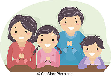 Family Praying - Illustration of a Family Praying Together