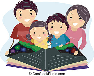 Illustration of a Family Reading a Book Together