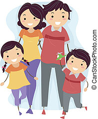 Matching Outfits - Illustration of a Family Wearing Matching...