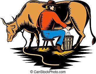 illustration of a Farmer milking cow
