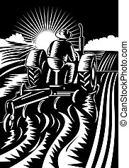 illustration of a Farmer on tractor plowing field woodcut style