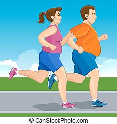 Illustration of a fat runners