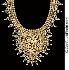 Illustration of a female beaded necklace with pearls and gold brooches